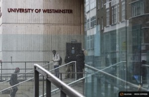 People walk in and out of a University of Westminster campus building in central London, February 26, 2015. REUTERS/Toby Melville