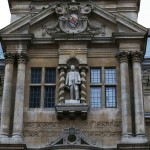 The statue of Cecil Rhodes is seen on the facade of Oriel College in Oxford, southern England, in this file photograph dated December 30, 2015. REUTERS/Eddie Keogh