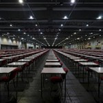 Thousands of tables are seen inside a hall at Asia-World Expo near Hong Kong Airport in Hong Kong, China October 2, 2015, one day before SAT examinations to be taken place. REUTERS/Bobby Yip