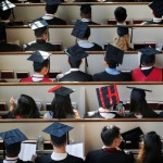 """A graduating student has """"HI"""" written on their cap at a service before the 365th Commencement Exercises at Harvard University in Cambridge, Massachusetts, U.S. May 26, 2016.  REUTERS/Brian Snyder"""